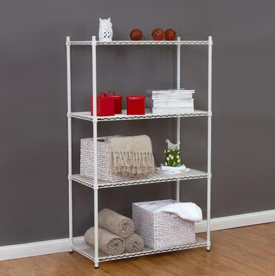 white epoxy wire shelf