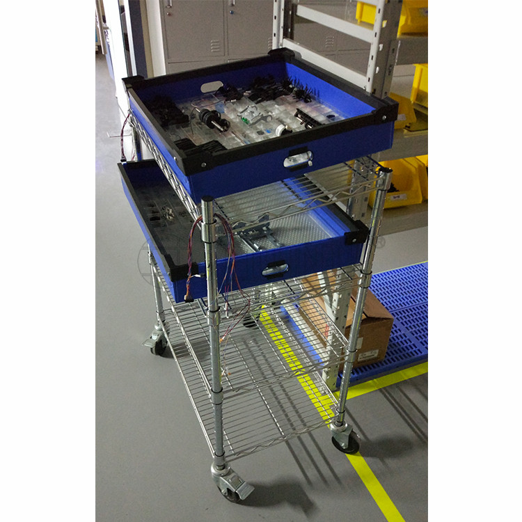Factory Utility Cart: Industrial Factory Storage 4 Tiers Adjustable Chrome Steel