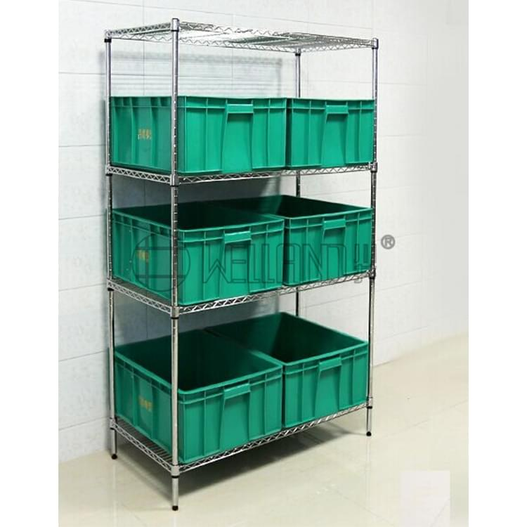 4 Shelves NSF Approved Factory Warehouse Plastic Bin Storage Chrome ...