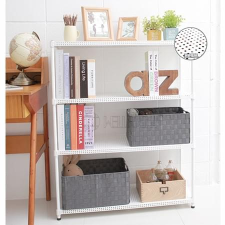 New Arrival Multi-purpose White 4-Tier Performated Metal Shelf Unit Storage Rack For Livingroom