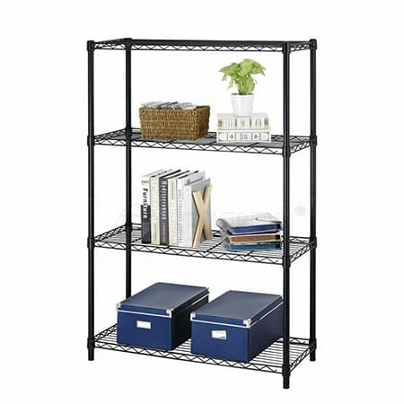 Black Powder Coated Adjustable 4 Tiers Home Sundries Storage Wire Shelving Rack Unit