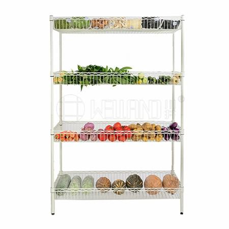 Wholesale Customized 4 Tiers White Epoxy Metal Basket Wire Shelving Rack for Store Display