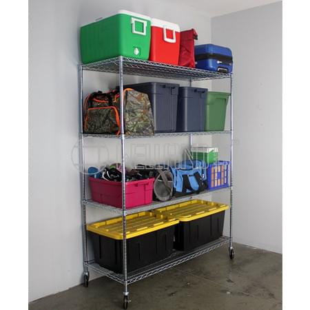 NSF 6-Layer Multi-purpose & Heavy Duty Commercial Steel Wire Shelving Rack with Screw Rubber Wheels