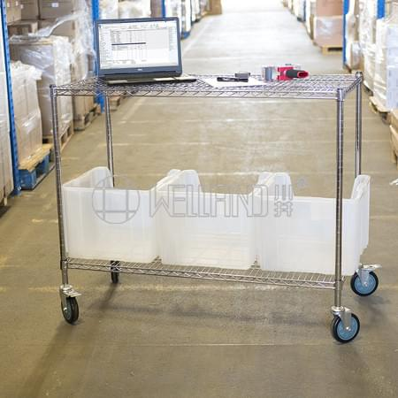 Factory Warehouse Storage Storage Heavy Duty Chrome Steel Wire Shelf Shelving Trolley Cart , NSF App
