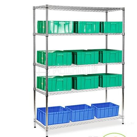 Rolling 5 Tiers Heavy Duty 500lbs Bin Storage Steel Wire Shelving Rack for Garage or Warehouse Used