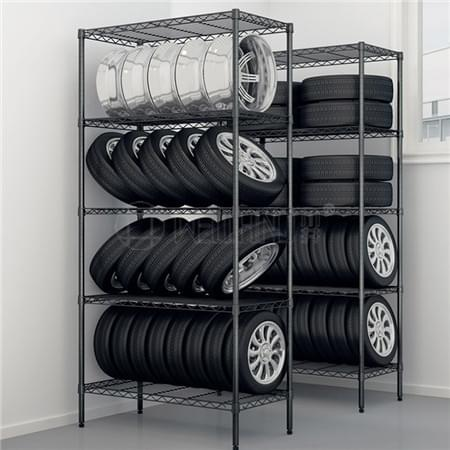 Dark Grey Epoxy Coated 5 Tiers Light Duty Garage Warehouse Tires Storage Shelf Shelving Rack,NSF App