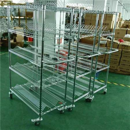 Industrial 5 Tiers Steel  SMT ESD Anti-static Wire Shelving Rack Cart Trolley,NSF Approval