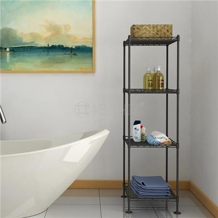 Square 4 Tiers Powder Coated Metal Open Shampoo Shelf Bathroom Appliance Rack Stand