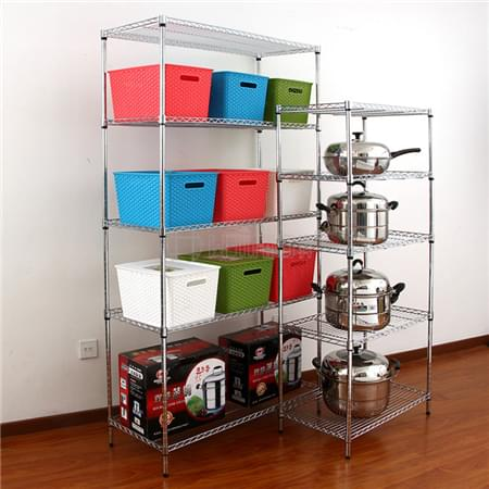 Multi-purpose 5 Tier Heavy Duty  250kg Adjustable Metal Wire Shelf Organization Rack