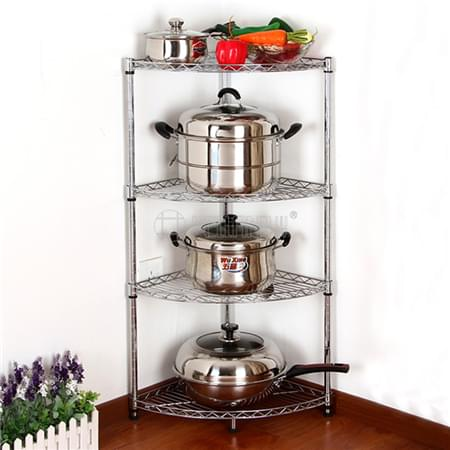 WELLAND 4 Tiers Corner Fanshaped Wire Shelf Chrome Kitchen Pan Stand Pot Saucepan Storage Rack Holde