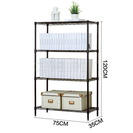 Multifunction 4 Tiers Adjustable Steel Wire Shelving Rack Used for Office Book / Magazine Storage