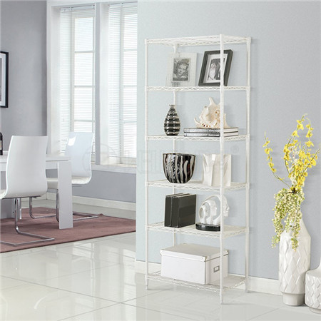 White Epocy Coated 6 Layers Durable Steel Wire Shelving Rack for Home Storage or Office Display