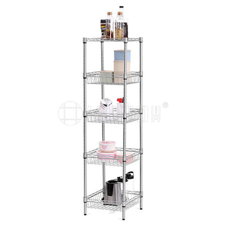 Free-Standing Kitchen Storage 5-Tier Wire Shelving Unit with Baskets
