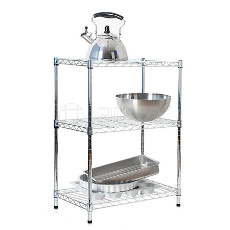 Free Standing Kitchen Storage 3 Tiers Chrome Plated Wire Rack Shelving with Knock Down Packing