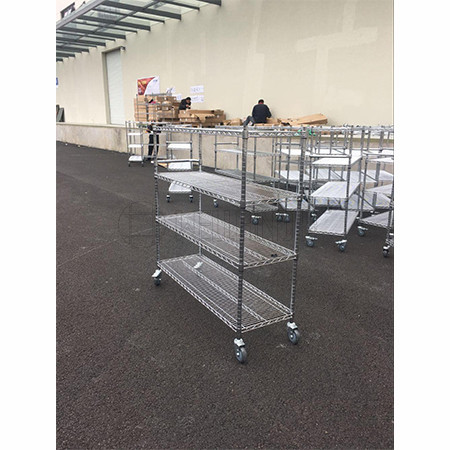 NSF 4 Tiers 800lbs Industrial Commercial Chrome Steel Wire Shelving on Wheels, 21