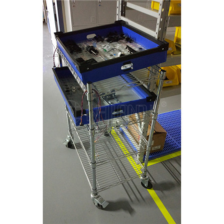 Industrial Factory Storage 4 Tiers Adjustable Chrome Steel Utility Trolley Cart,500lbs Loading Capa