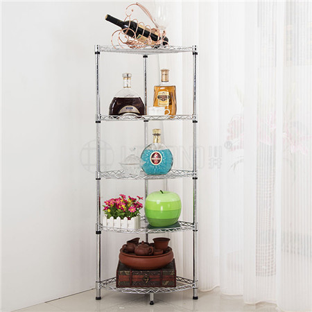 Multipurpose 4-tier Kitchen Storage Chrome Metal Corner Wire Shelf Rack Stand