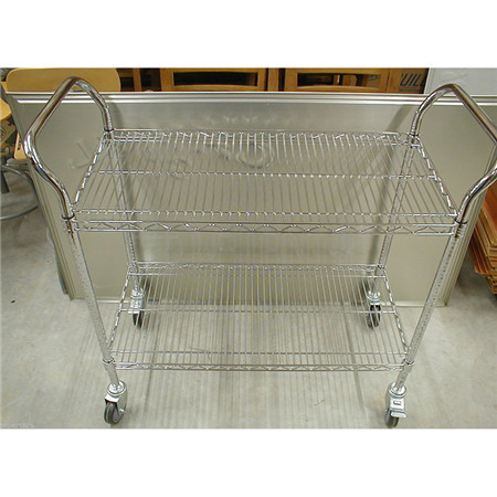 All-Purpose 3 Tiers DIY Heavy Duty Chrome Wire Utility Cart Trolley with NSF Approval