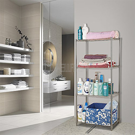 Low Cost 4 Tiers Bathroom Light Duty  Silver Grey Metal Wire Shelving from Rack China Factory