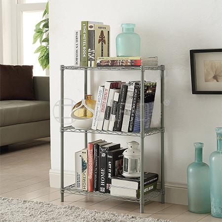 Epoxy Grey 3 Tier Livingroom  Mini Book Storage Metal Wire Rack Shelves Stand