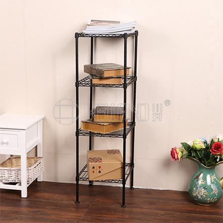 Square Metal Furniture Black 4 Shelf Small Corner Metal Wire Storage Rack Shelving Unit