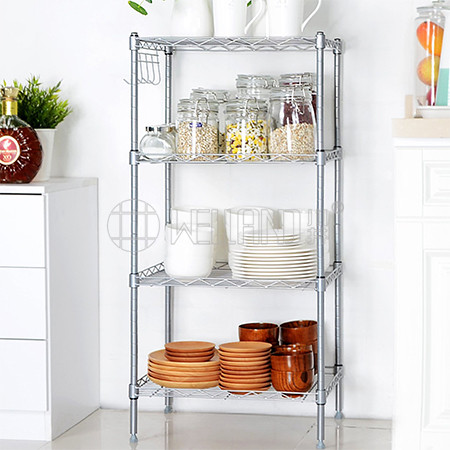 NSF Approval 4 Tiers Adjustable Kitchen  Storage wire shelf and Plate Rack with Hooks