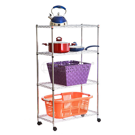 Rolling 4 Tiers Chrome Metal Kitchen Wire Shelf Trolley Cart ,No Tools Assembly