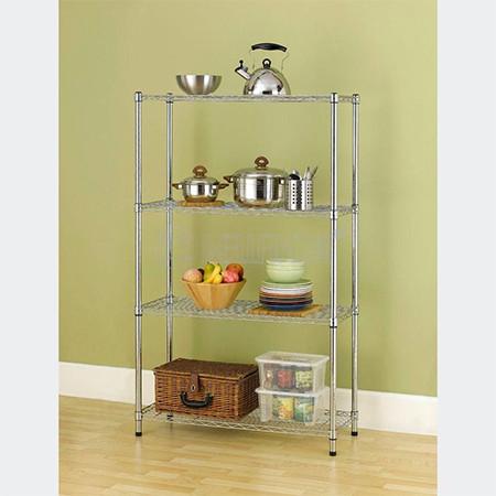 Easy Assemble 4 Layer Adjustable Zinc Coated Steel Kitchen Utensil Storage Rack Organizer