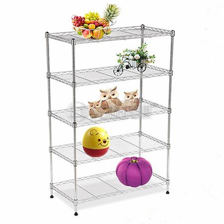 Hot Selling 5 Tiers NSF 80kgs Light Duty Storage Chrome Metal Wire Home Goods Shelf Unit