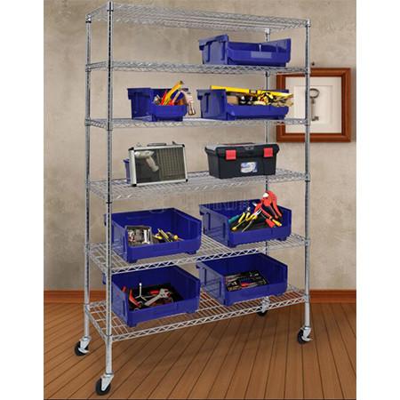 Rolling 6 Tier NSF Chrome Wire Shelving Unit Deep Ventilation Shelves Steel Garage Tool Storage Rack