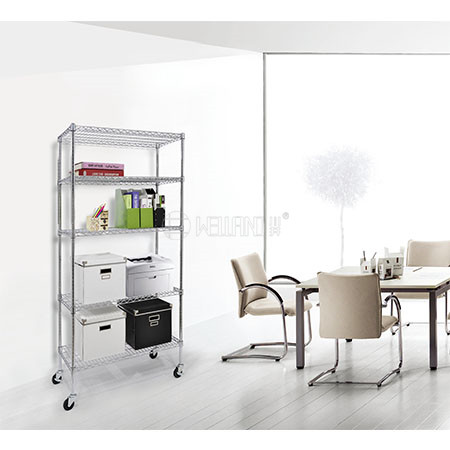 WELLAND 5 Tier Chrome Wire Shelving Unit Office Storage Metal Shelves with Wheels