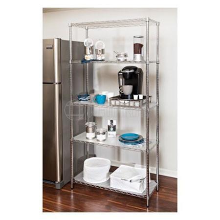 Durable 5-Tier Adjustable Stackable Shelf Chrome Steel Kitchen Wire Shelving Unit