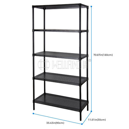 Multi-purpose Powder Coated 5 Tiers Adjustable Perforated Metal Storage Rack Shelf