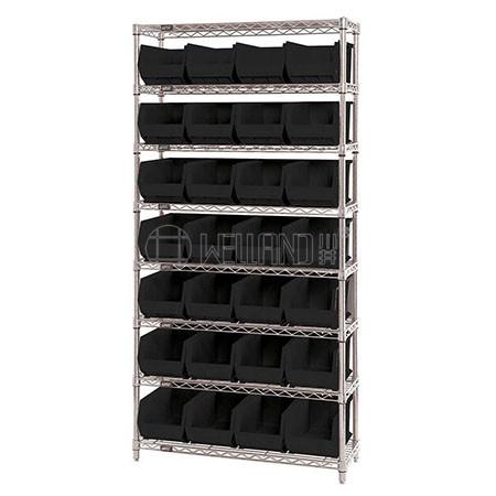 Platinum Zinc Coated 8 Tiers Knock Down Style Light Duty 120kg Steel Bin Storage Rack Shelving Syste